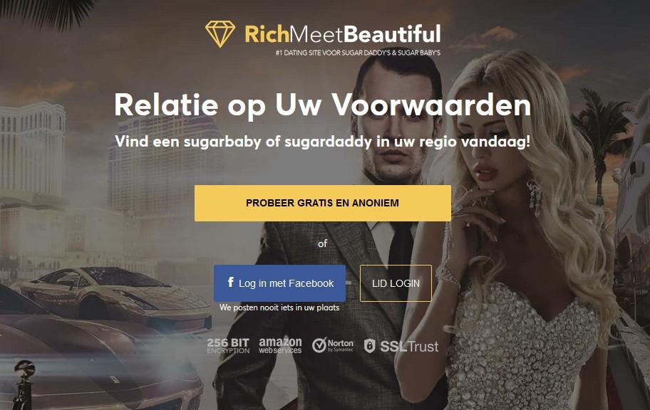 Zo ziet de homepage van de datingsite RichMeetBeautiful eruit